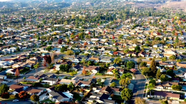 aerial of monrovia, california - suburban stock videos & royalty-free footage