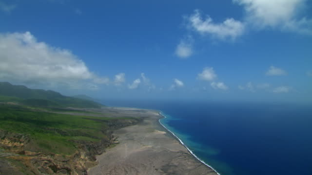 Aerial of Montserrat coastline in Caribbean Islands.