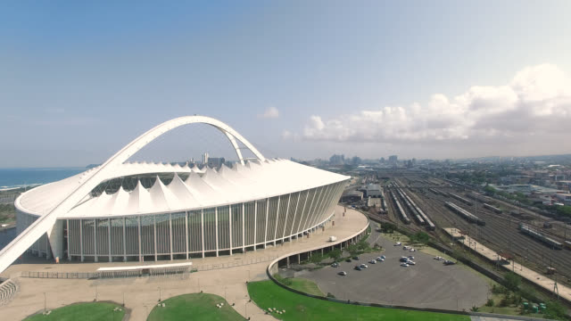 aerial of moses mabhida stadium - durban stock videos and b-roll footage