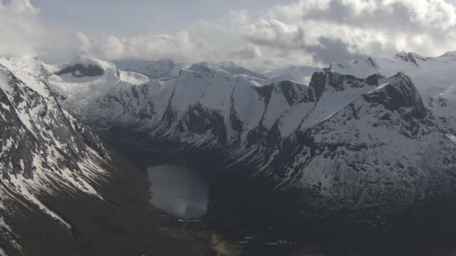 aerial of mountains and fjord - norway stock videos & royalty-free footage