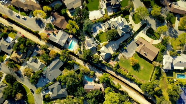 aerial of neighborhood - pasadena california stock videos & royalty-free footage