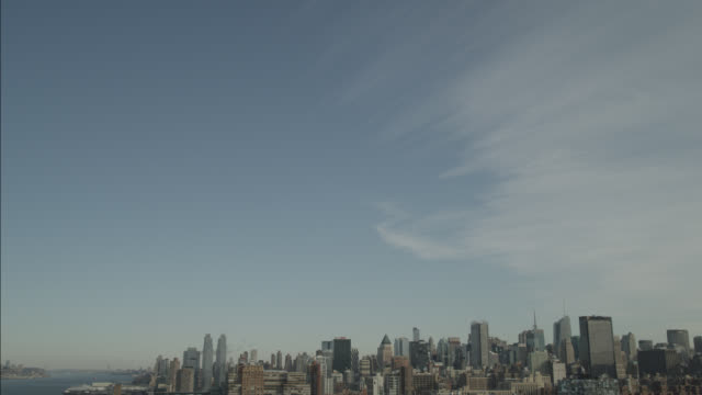 aerial of new york city skyline. - helicopter tour stock videos and b-roll footage