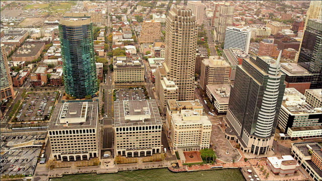 aerial of newport financial district, new york - money politics stock videos & royalty-free footage