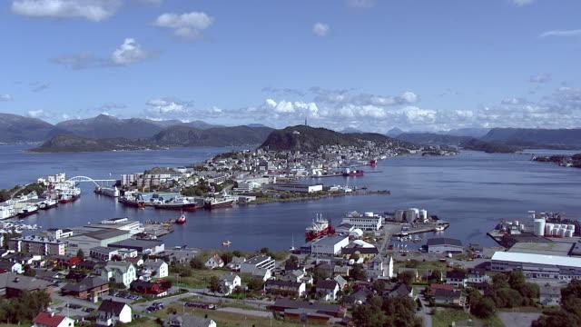 aerial of norwegian coastal town aalesund. - lush foliage stock videos & royalty-free footage