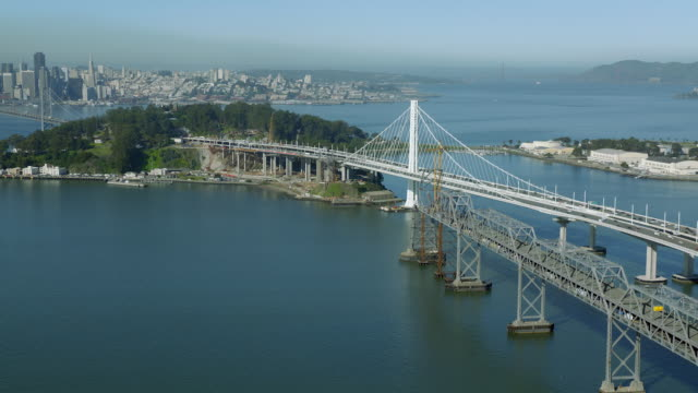Aerial Of Oakland Bay Bridge And Island