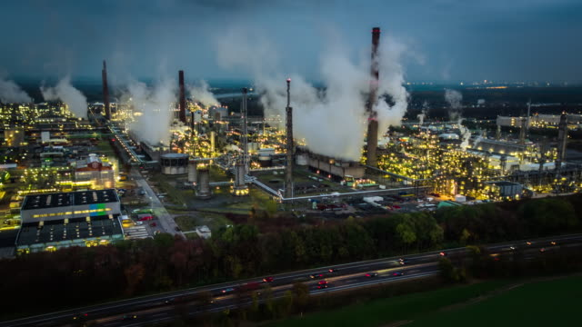 Aerial of Oil Industry - refinery factory at night