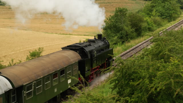 aerial of old steam train with billowing smoke stack from behind - treno video stock e b–roll