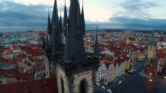 aerial of old town prague - stare mesto stock videos & royalty-free footage