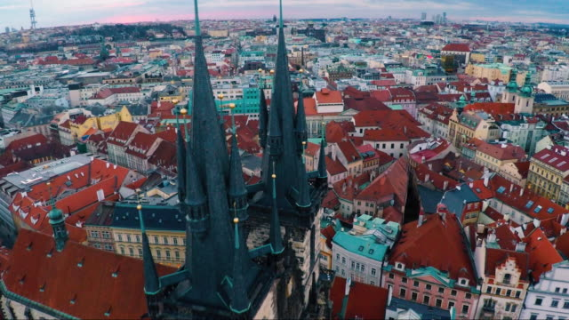 aerial of old town prague - prague stock videos & royalty-free footage