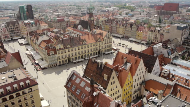 Aerial of Old Town Wroclaw in Poland