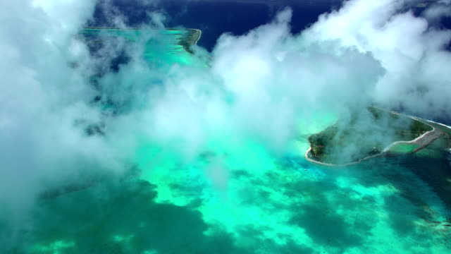 aerial of overwater bungalow vacation resort bora bora - bora bora aerial stock videos and b-roll footage