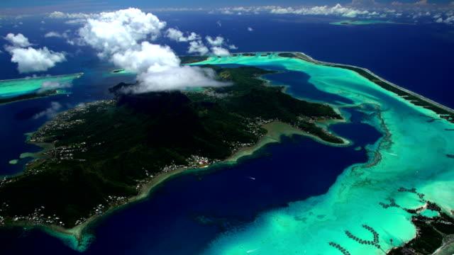 aerial of overwater bungalows mt otemanu bora bora - bora bora stock videos & royalty-free footage