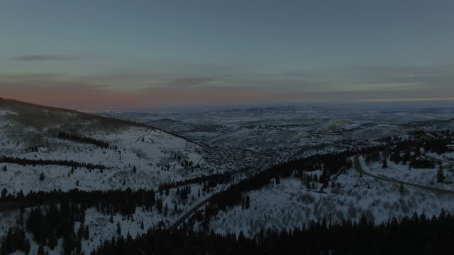 4K Aerial of Park City, Utah in the winter with snow on the ground