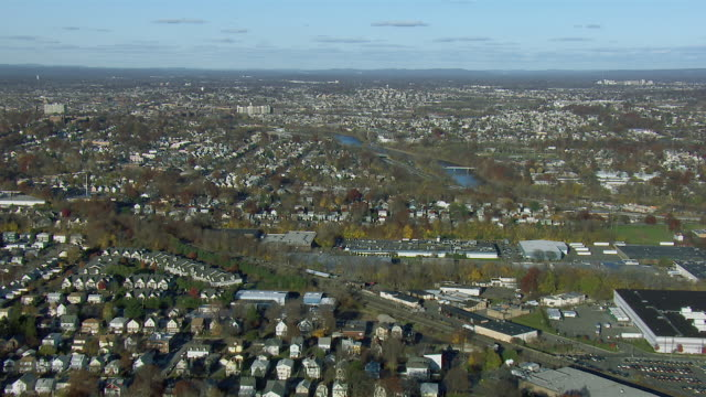 stockvideo's en b-roll-footage met aerial of passaic new jersey and river - new jersey