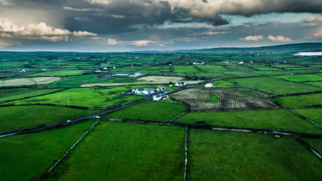 aerial of patchwork landscape with green fields in ireland - patchwork landscape stock videos and b-roll footage