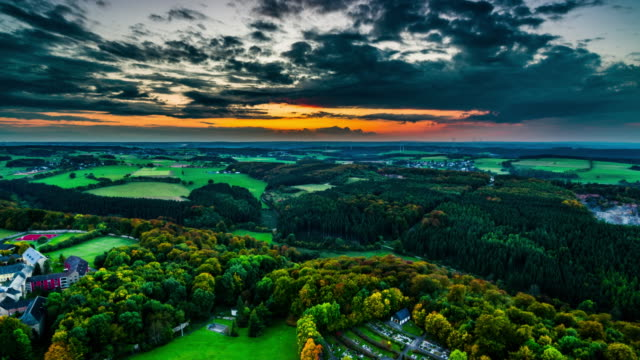 Aerial of picturesque rural landscape at dawn