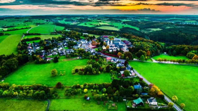 Aerial of picturesque Village at dawn, Eifel region in Germany