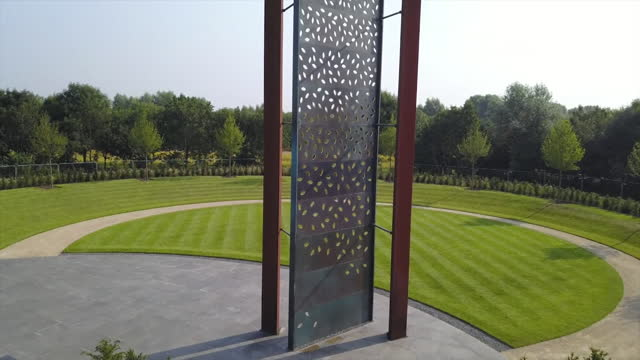"""aerial of police memorial to fallen police officers and staff at the national memorial arboretum in staffordshire - """"bbc news"""" stock videos & royalty-free footage"""