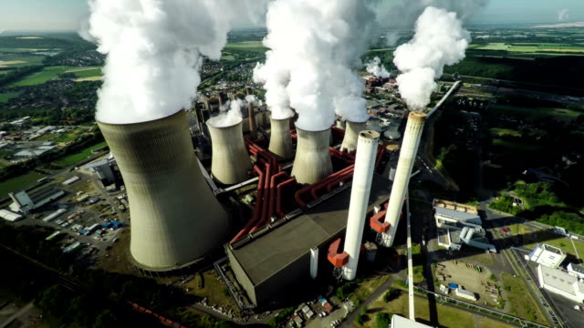 aerial of power station - fossil fuel stock videos & royalty-free footage