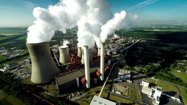 aerial of power station - vapor stock videos & royalty-free footage