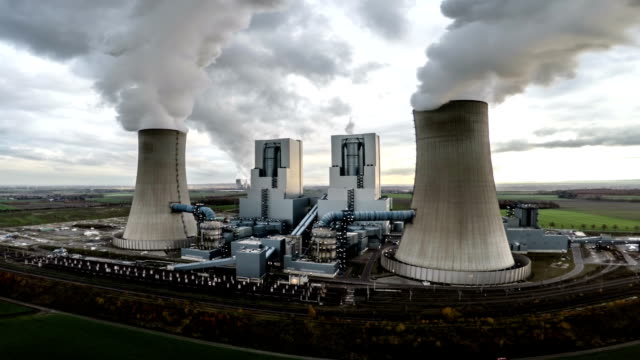 Aerial of Power Station with Cooling Towers