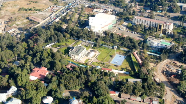 aerial of  prime minister residence, parliament, menelik palace ,ba'eta le mariam monastery / addis ababa - prime minister stock videos & royalty-free footage