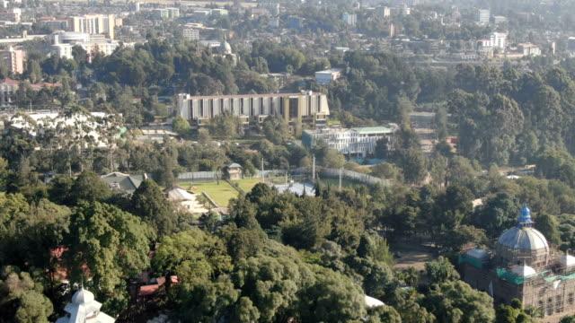 aerial of  prime minister residence, parliament, menelik palace ,ba'eta le mariam monastery / addis ababa - アジスアベバ点の映像素材/bロール