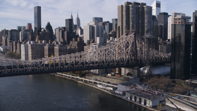 aerial of queensboro bridge over east river. skyscrapers and high rise office or apartment buildings in midtown manhattan new york city skyline.