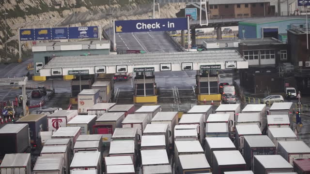 aerial of queue of lorries waiting to get into dover port - heavy goods vehicle stock videos & royalty-free footage