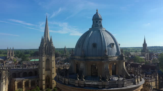 aerial of radcliffe camera, bodleian library, oxford university, oxford city centre, oxfordshire, england - film composite stock videos & royalty-free footage