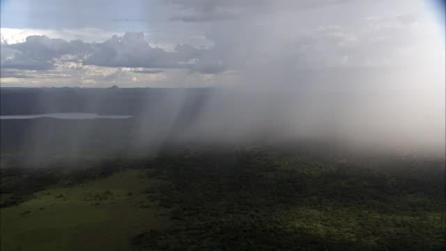 aerial of rain falling onto woodland savannah, uganda - ウガンダ点の映像素材/bロール