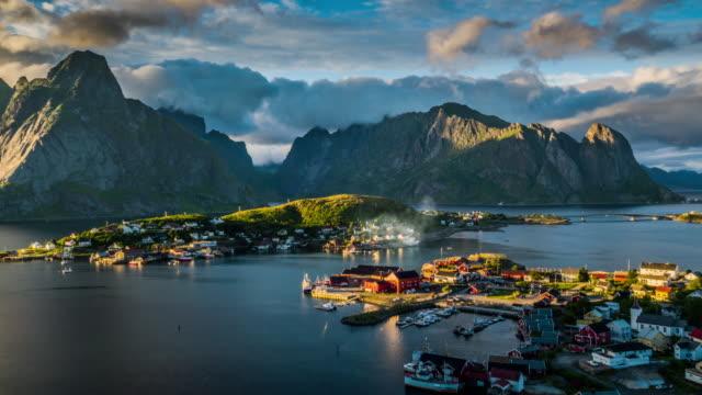aerial of reine village, lofoten islands, norway - scandinavian culture stock videos and b-roll footage