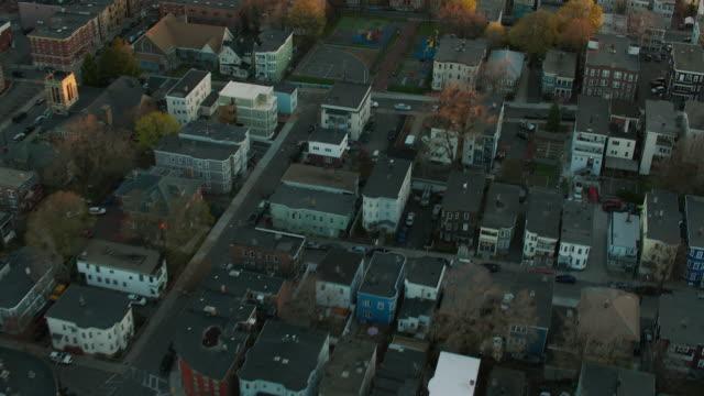 aerial of residential boston neighborhood - massachusetts stock videos & royalty-free footage