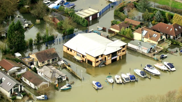 Aerial of residential flooding wide area England UK