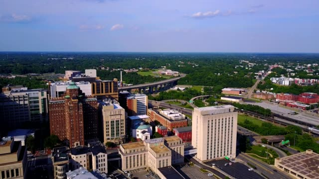 aerial of richmond, virginia skyline - richmond virginia stock videos & royalty-free footage