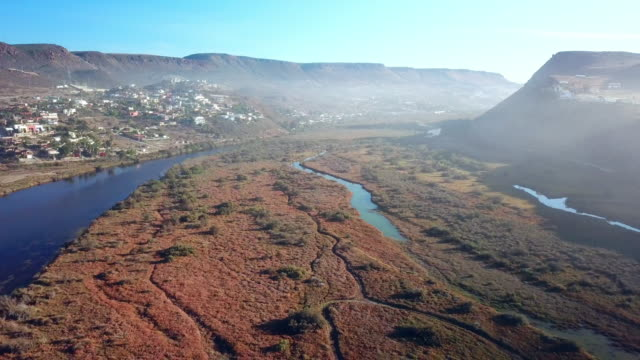Aerial of River and Mountain of Baja Mexico