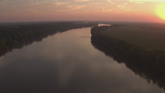 Aerial of river during sunset