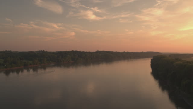 aerial of river during sunset - missouri stock videos & royalty-free footage