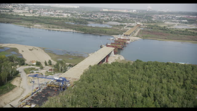 Aerial of road constructions in Novosibirsk, Siberia, Russia