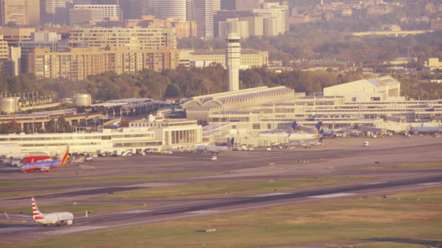 Aerial of Ronald Reagan Washington National Airport, DC daytime