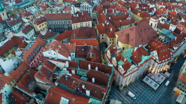 aerial of rooftops of old town prague - prague old town square stock videos & royalty-free footage