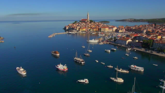 WS aerial of Rovinj old town and harbour