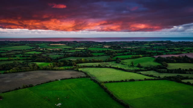 aerial of rural countryside with fields in ireland - patchwork landscape stock videos and b-roll footage