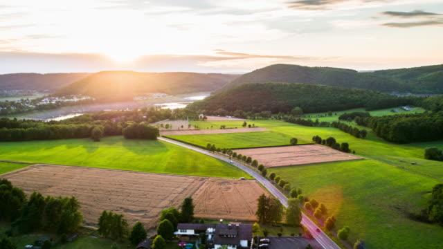 aerial of rural landscape in hesse, germany - hesse germany stock videos & royalty-free footage
