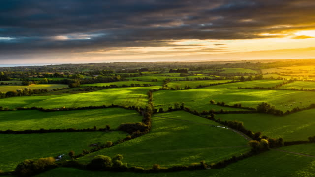 Aerial of rural landscape with farmland in Ireland