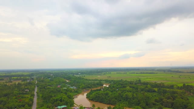 aerial of rural scene landscape near rice field, river and forest in thailand - radio controlled handset stock videos and b-roll footage
