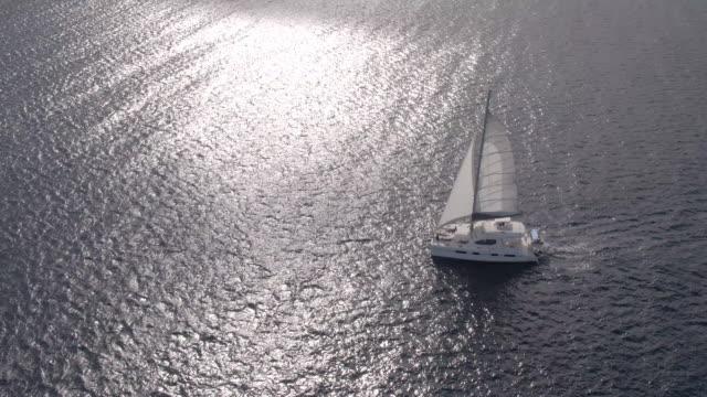 Aerial of sailing boat