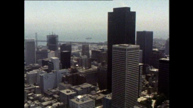 aerial of san francisco's financial district skyscrapers - bridge built structure stock videos & royalty-free footage