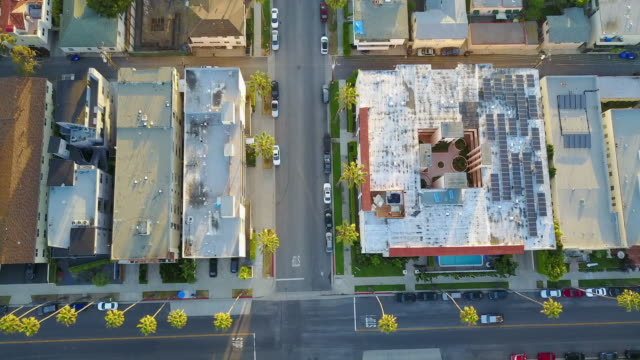 Aerial of Santa Monica Street Busy Intersection