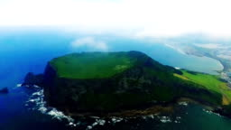 Aerial of Seongsan Ilchulbong(UNESCO World Heritage Site) in Jeju Island